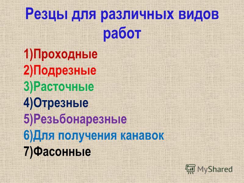 Резцы для различных видов работ 1)Проходные 2)Подрезные 3)Расточные 4)Отрезные 5)Резьбонарезные 6)Для получения канавок 7)Фасонные