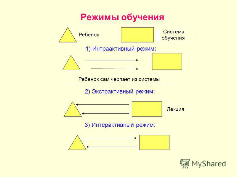 Режимы обучения Ребенок Система обучения 1) Интраактивный режим: Ребенок сам черпает из системы 2) Экстрактивный режим: Лекция 3) Интерактивный режим: