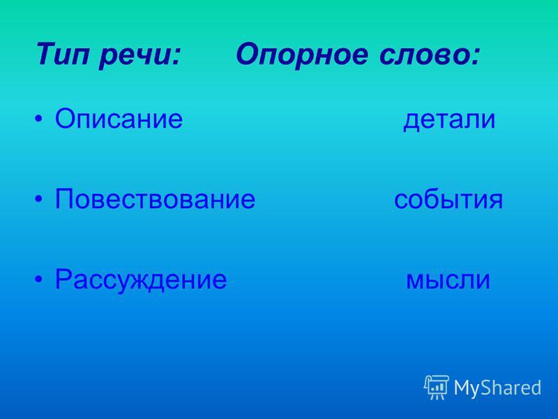 Тип речи: Опорное слово: Описание детали Повествование события Рассуждение мысли