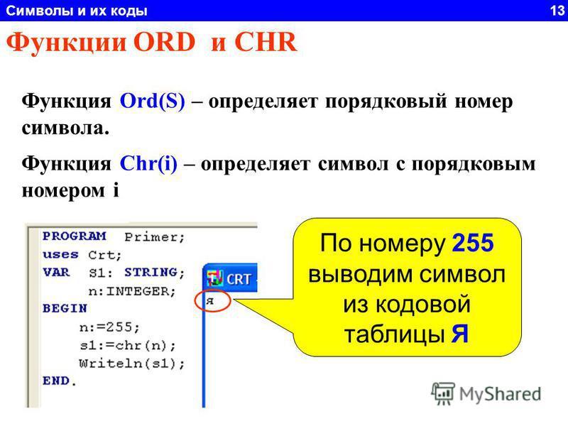 Символы и их коды 13 Функции ORD и CHR Функция Ord(S) – определяет порядковый номер символа. Функция Chr(i) – определяет символ с порядковым номером i По номеру 255 выводим символ из кодовой таблицы Я