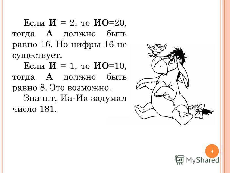 Если И = 2, то ИО =20, тогда А должно быть равно 16. Но цифры 16 не существует. Если И = 1, то ИО =10, тогда А должно быть равно 8. Это возможно. Значит, Иа-Иа задумал число 181. 4