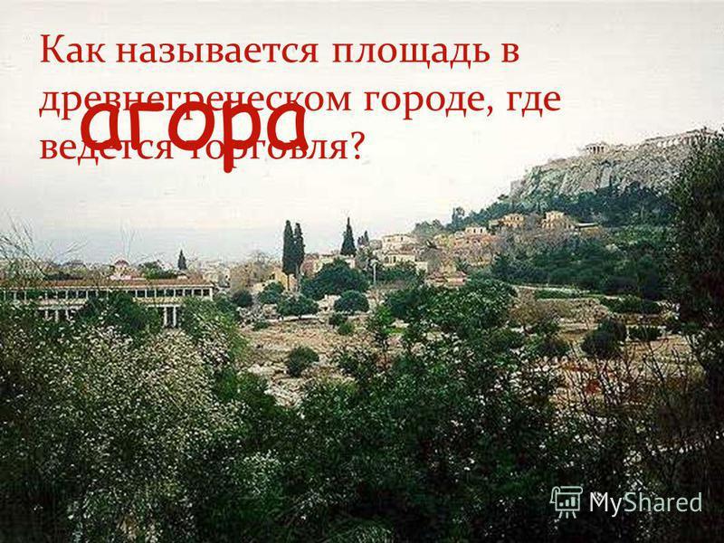 Как называется площадь в древнегреческом городе, где ведется торговля? агора