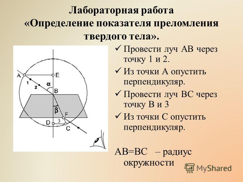 Лабораторная работа «Определение показателя преломления твердого тела». Провести луч АВ через точку 1 и 2. Из точки А опустить перпендикуляр. Провести луч ВС через точку В и 3 Из точки С опустить перпендикуляр. АВ=ВС – радиус окружности