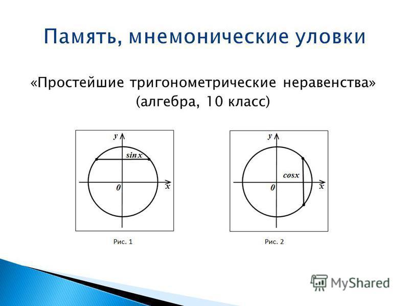 «Простейшие тригонометрические неравенства» (алгебра, 10 класс)