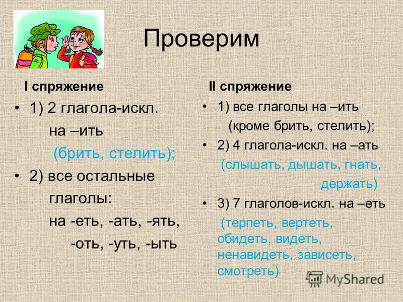 Проверим I спряжение 1) 2 глагола-искл. на –ить (брить, стелить); 2) все остальные глаголы: на -еть, -ати, -ять, -оть, -усть, -быть II спряжение 1) все глаголы на –ить (кроме брить, стелить); 2) 4 глагола-искл. на –ати (слышати, дышати, гнати, держат