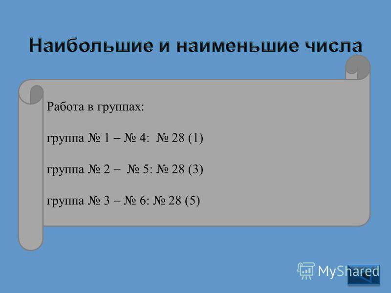 28 9 999 993 9 995 999 Работа в группах: группа 1 4: 28 (1) группа 2 5: 28 (3) группа 3 6: 28 (5)