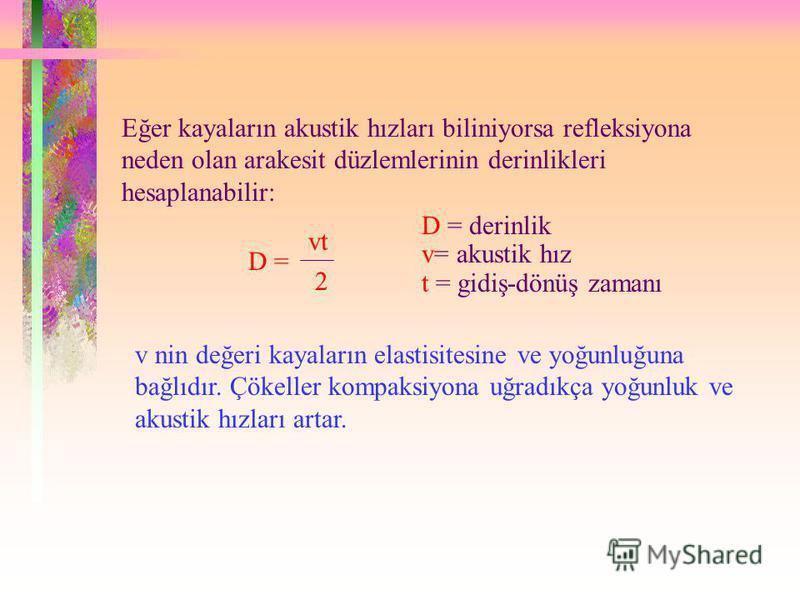 Eğer kayaların akustik hızları biliniyorsa refleksiyona neden olan arakesit düzlemlerinin derinlikleri hesaplanabilir: D = vt 2 D = derinlik v= akustik hız t = gidiş-dönüş zamanı v nin değeri kayaların elastisitesine ve yoğunluğuna bağlıdır. Çökeller