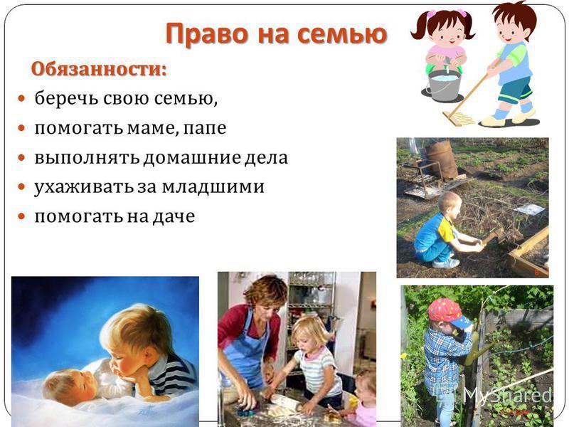 Право на семью Обязанности : Обязанности : беречь свою семью, помогать маме, папе выполнять домашние дела ухаживать за младшими помогать на даче