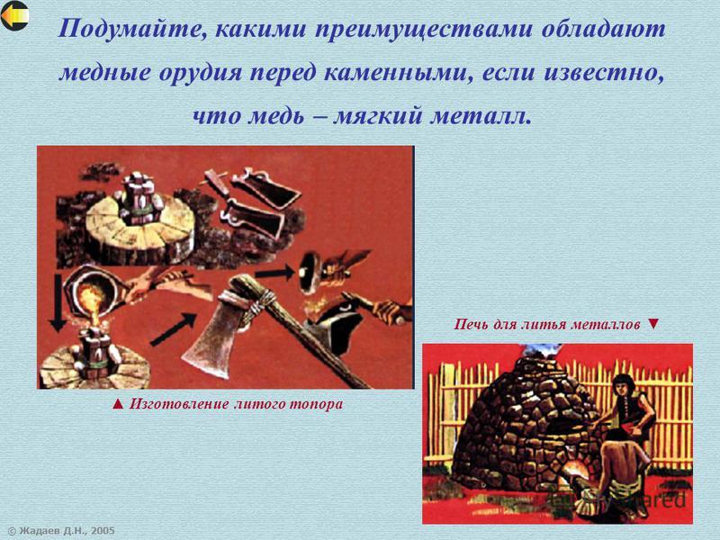 © Жадаев Д.Н., 2005 Подумайте, какими преимуществами обладают медные орудия перед каменными, если известно, что медь – мягкий металл. Изготовление литого топора Печь для литья металлов