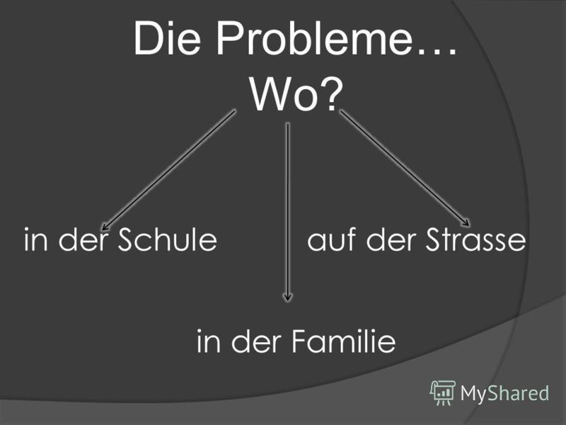Die Probleme… Wo? in der Schule in der Familie auf der Strasse
