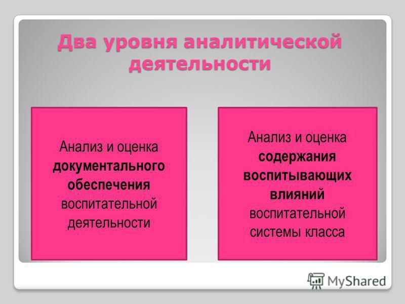 Два уровня аналитической деятельности Анализ и оценка документального обеспечения воспитательной деятельности Анализ и оценка содержания воспитывающих влияний воспитательной системы класса