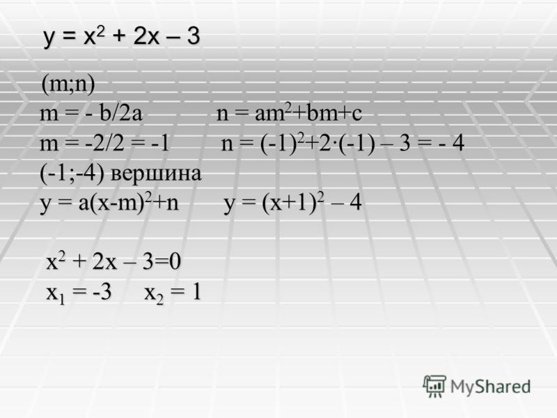 y = x 2 + 2x – 3 (m;n) (m;n) m = - b/2a n = am 2 +bm+c m = - b/2a n = am 2 +bm+c m = -2/2 = -1 n = (-1) 2 +2·(-1) – 3 = - 4 m = -2/2 = -1 n = (-1) 2 +2·(-1) – 3 = - 4 (-1;-4) вершина (-1;-4) вершина y = a(x-m) 2 +n y = (x+1) 2 – 4 y = a(x-m) 2 +n y =
