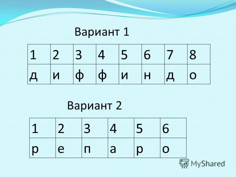 12345678 диффиндо Вариант 1 123456 репаро Вариант 2