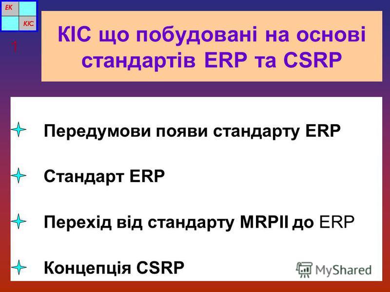 КІС що побудовані на основі стандартів ERP та CSRP Передумови появи стандарту ERP Стандарт ERP Перехід від стандарту MRPII до ERP Концепція CSRP 1