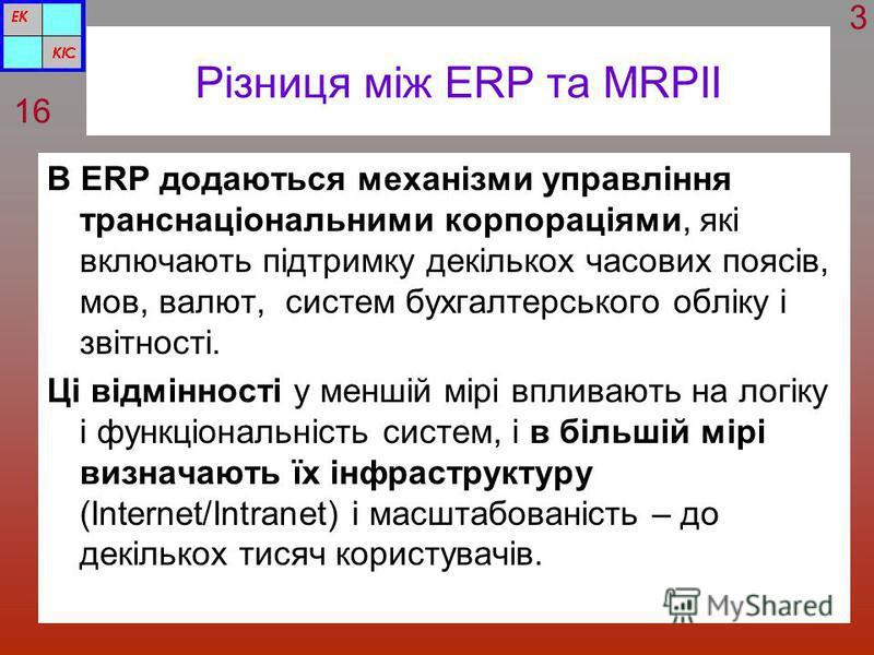 Різниця між ERP та MRPII В ERP додаються механізми управління транснаціональними корпораціями, які включають підтримку декількох часових поясів, мов, валют, систем бухгалтерського обліку і звітності. Ці відмінності у меншій мірі впливають на логіку і