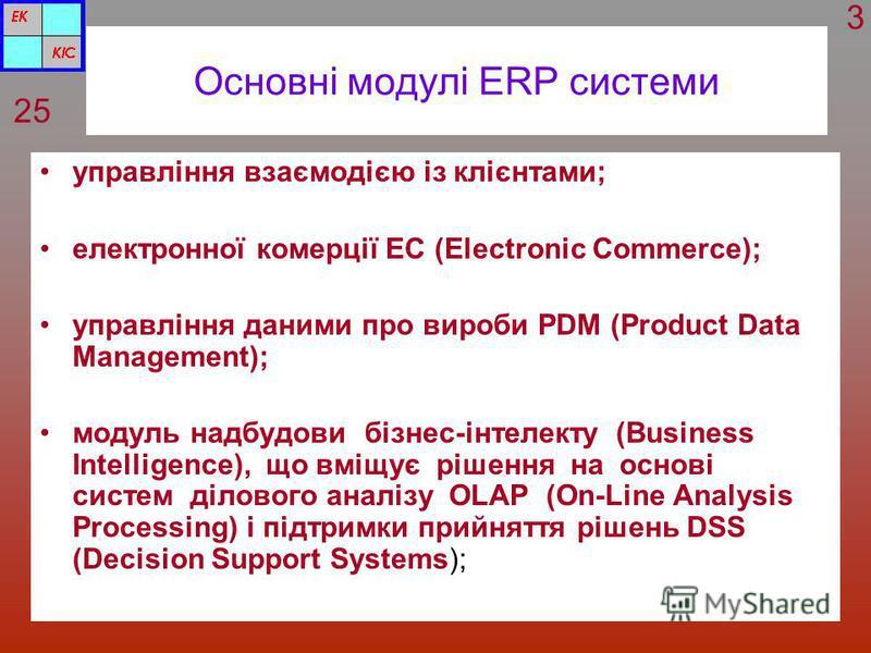 Основні модулі ERP системи управління взаємодією із клієнтами; електронної комерції ЕС (Electronic Commerce); управління даними про вироби PDM (Product Data Management); модуль надбудови бізнес-інтелекту (Business Intelligence), що вміщує рішення на