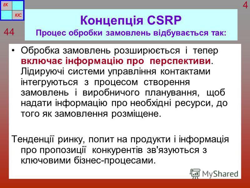 Концепція CSRP Процес обробки замовлень відбувається так: Обробка замовлень розширюється і тепер включає інформацію про перспективи. Лідируючі системи управління контактами інтегруються з процесом створення замовлень і виробничого планування, щоб над