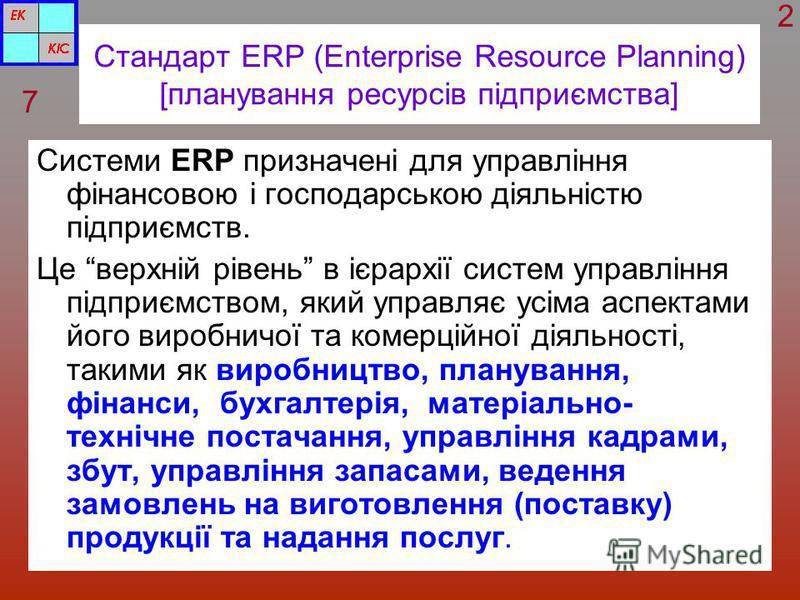Стандарт ERP (Enterprise Resource Planning) [планування ресурсів підприємства] Системи ERP призначені для управління фінансовою і господарською діяльністю підприємств. Це верхній рівень в ієрархії систем управління підприємством, який управляє усіма