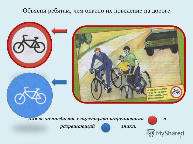Объясни ребятам, чем опасно их поведение на дороге. Для велосипедиста существуют запрещающий и разрешающий знаки. 8