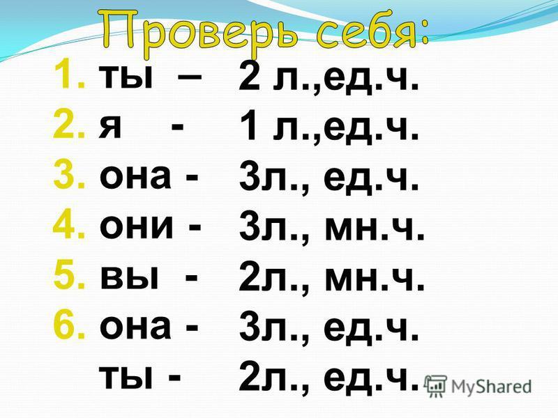 1. ты – 2. я - 3. она - 4. они - 5. вы - 6. она - ты - 2 л.,ед.ч. 1 л.,ед.ч. 3 л., ед.ч. 3 л., мн.ч. 2 л., мн.ч. 3 л., ед.ч. 2 л., ед.ч.