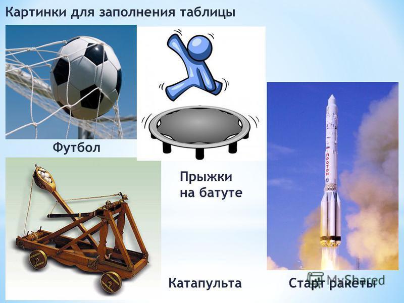 Картинки для заполнения таблицы Футбол Прыжки на батуте Старт ракеты Катапульта