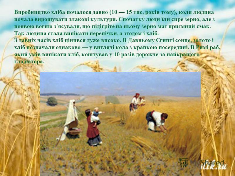 Виробництво хліба почалося давно (10 15 тис. років тому), коли людина почала вирощувати злакові культури. Спочатку люди їли сире зерно, але з появою вогню з'ясували, що підігріте на ньому зерно має приємний смак. Так людина стала випікати перепічки,