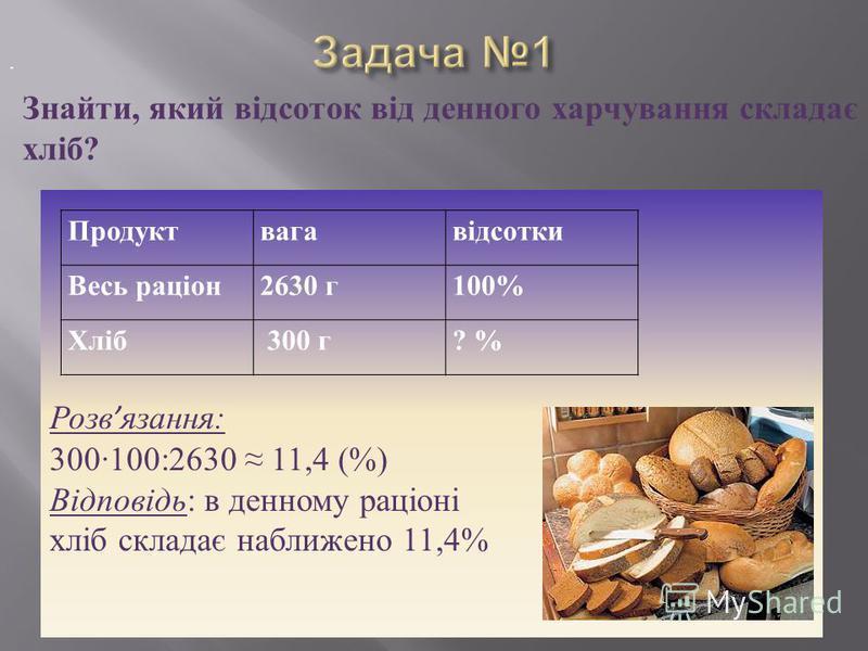 Розв язання: 300100:2630 11,4 (%) Відповідь: в денному раціоні хліб складає наближено 11,4% Продуктвагавідсотки Весь раціон2630 г100% Хліб 300 г? %. Знайти, який відсоток від денного харчування складає хліб?