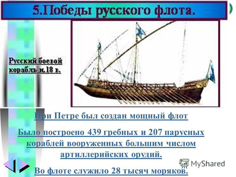 Меню При Петре был создан мощный флот Было построено 439 гребных и 207 парусных кораблей вооруженных большим числом артиллерийских орудий. Во флоте служило 28 тысяч моряков.