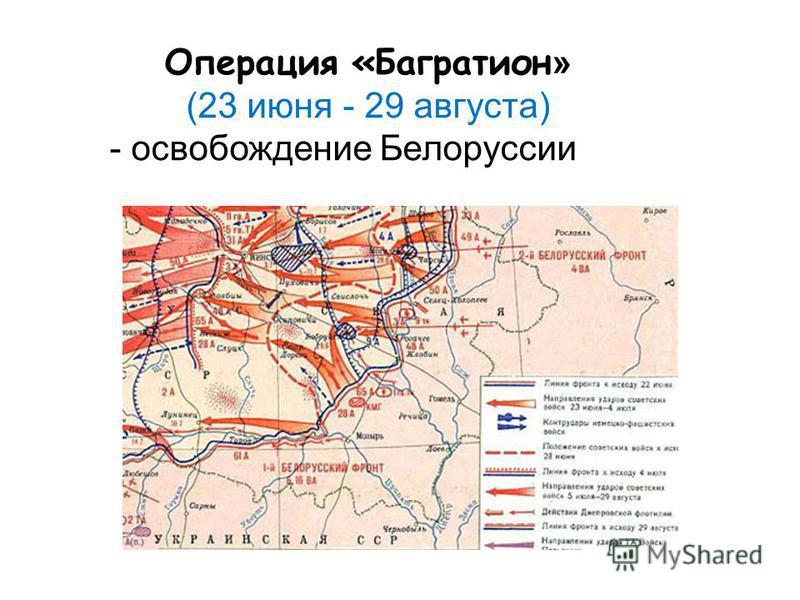 Операция «Багратион » (23 июня - 29 августа) - освобождение Белоруссии