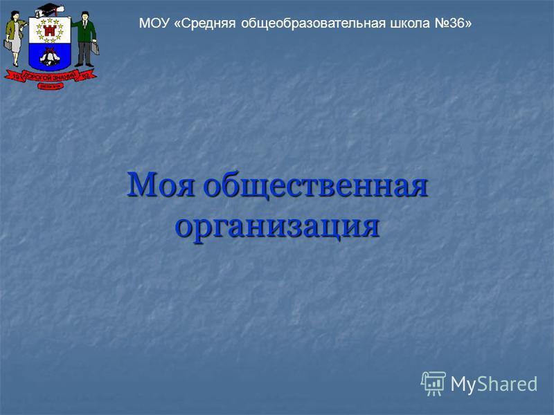 Моя общественная организация МОУ «Средняя общеобразовательная школа 36»