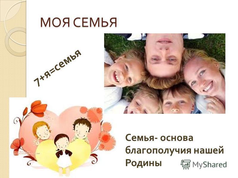 МОЯ СЕМЬЯ 7+ я = семья Семья - основа благополучия нашей Родины