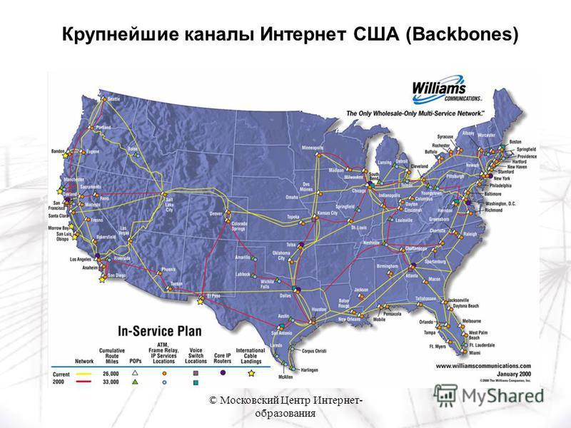 © Московский Центр Интернет- образования Крупнейшие каналы Интернет США (Backbones)