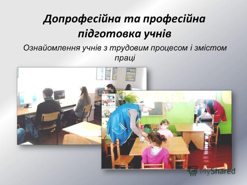 Допрофесійна та професійна підготовка учнів Ознайомлення учнів з трудовим процесом і змістом праці