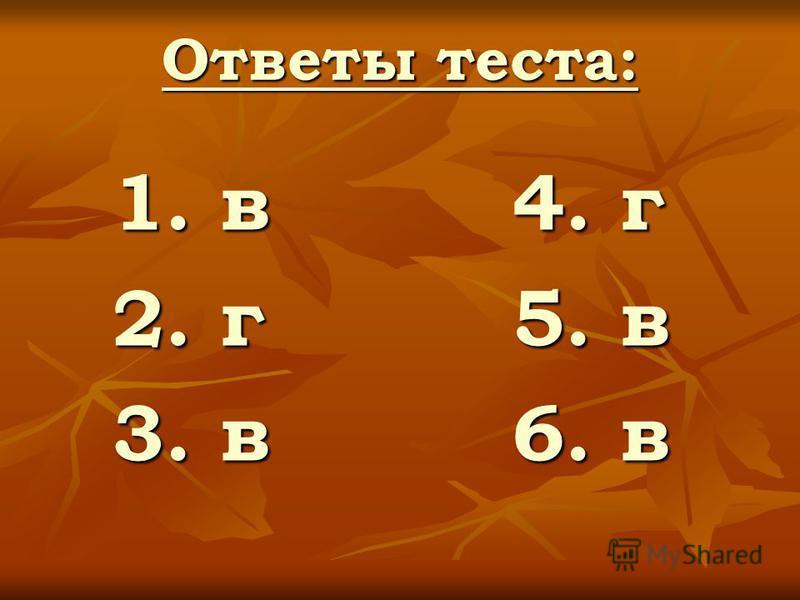 Ответы теста: 1. в 4. г 2. г 5. в 3. в 6. в