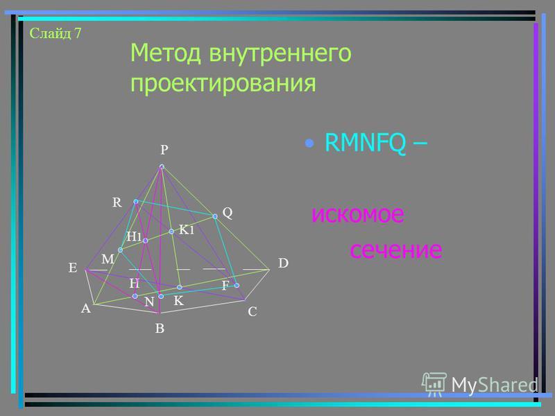 Метод внутреннего проектирования RMNFQ – искомое сечение Е А В С D R M F K K1K1 Q H P H1H1 N Слайд 7