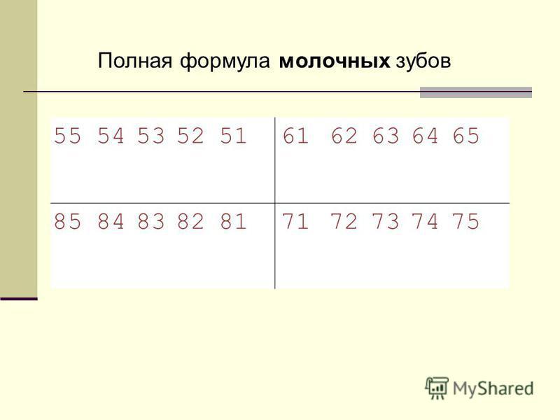55545352516162636465 85848382817172737475 Полная формула молочных зубов