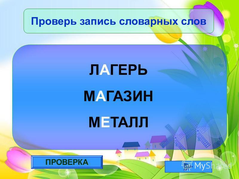 ПРОВЕРКА Проверь запись словарных слов ЛАГЕРЬ МАГАЗИН МЕТАЛЛ
