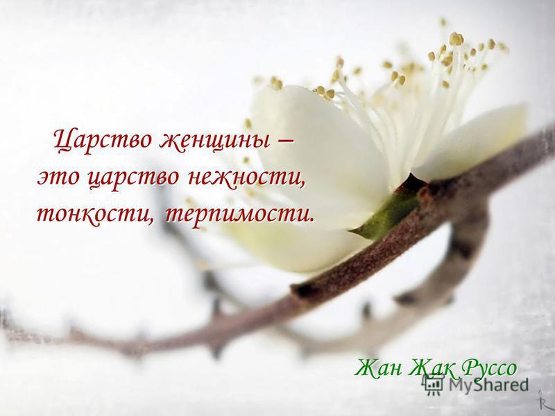 Царство женщины – это царство нежности, тонкости, терпимости. Жан Жак Руссо