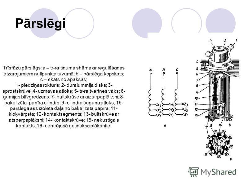 Pārslēgi Trīsfāžu pārslēgs: a – tr-ra tinuma shēma ar regulēšanas atzarojumiem nullpunkta tuvumā; b – pārslēga kopskats; c – skats no apakšas; 1- piedziņas rokturis; 2- dūralumīnija disks; 3- sprostskrūve; 4- uzmavas atloks; 5- tr-ra tvertnes vāks; 6