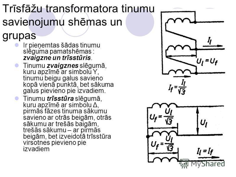 Trīsfāžu transformatora tinumu savienojumu shēmas un grupas Ir pieņemtas šādas tinumu slēguma pamatshēmas : zvaigzne un trīsstūris. Tinumu zvaigznes slēgumā, kuru apzīmē ar simbolu Y, tinumu beigu galus savieno kopā vienā punktā, bet sākuma galus pie