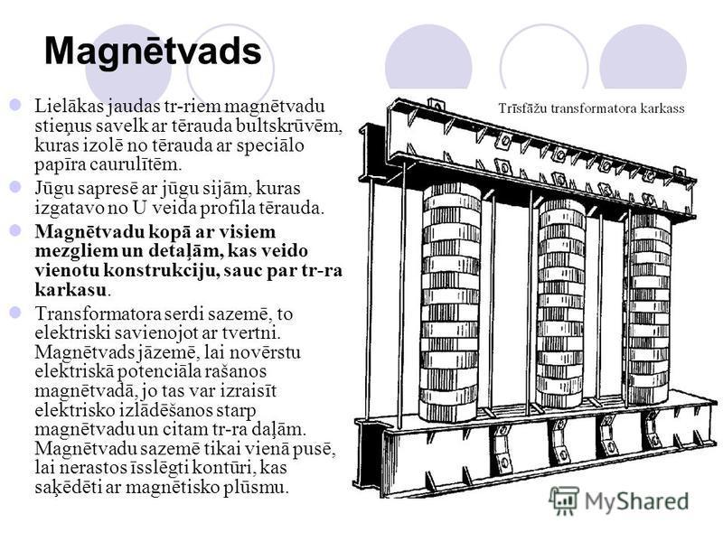 Magnētvads Lielākas jaudas tr-riem magnētvadu stieņus savelk ar tērauda bultskrūvēm, kuras izolē no tērauda ar speciālo papīra caurulītēm. Jūgu sapresē ar jūgu sijām, kuras izgatavo no U veida profila tērauda. Magnētvadu kopā ar visiem mezgliem un de