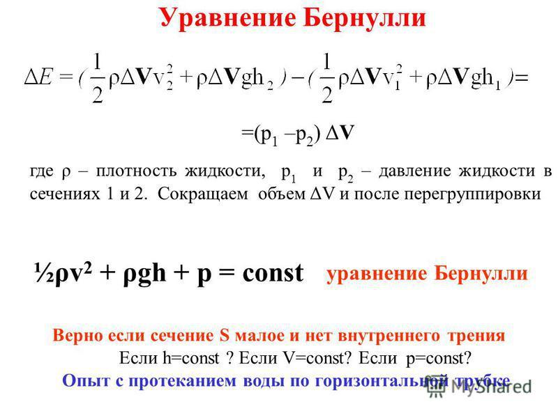 Уравнение Бернулли =(p 1 –p 2 ) ΔV где ρ – плотность жидкости, p 1 и p 2 – давление жидкости в сечениях 1 и 2. Сокращаем объем ΔV и после перегруппировки ½ρv 2 + ρgh + p = const Верно если сечение S малое и нет внутреннего трения Если h=const ? Если