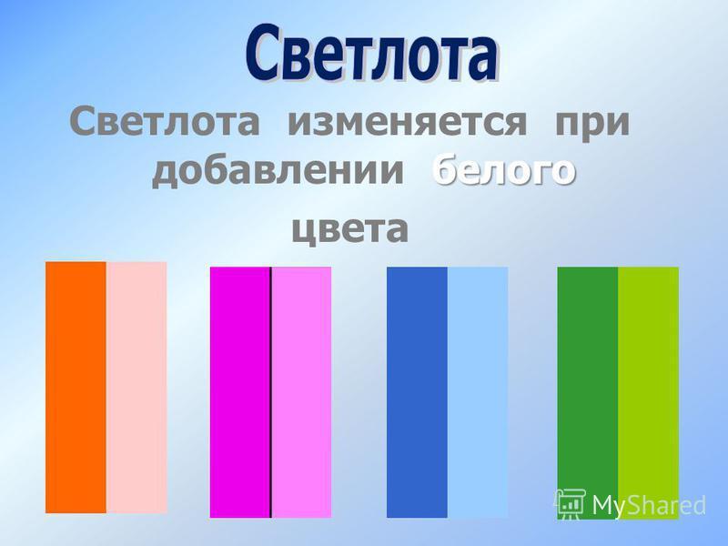 белого Светлота изменяется при добавлении белого цвета