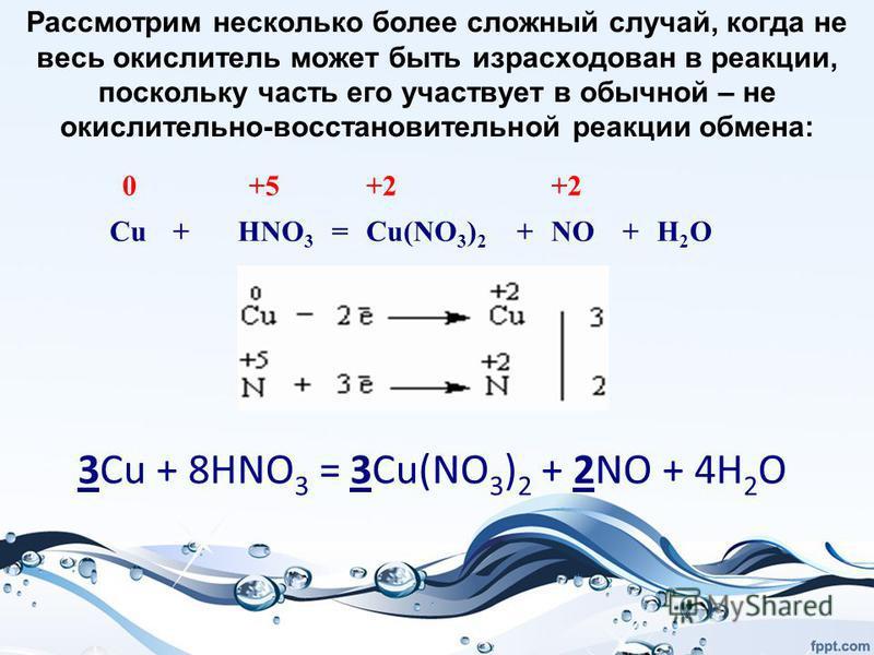 Рассмотрим несколько более сложный случай, когда не весь окислитель может быть израсходован в реакции, поскольку часть его участвует в обычной – не окислительно-восстановительной реакции обмена: 0 +5 +2 Cu+HNO 3 =Cu(NO 3 ) 2 +NO+H2OH2O 3Cu + 8HNO 3 =