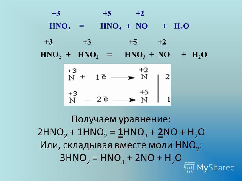 +3 +5 +2 HNO 2 =HNO 3 +NO+H2OH2O +3 +5 +2 HNO 2 + =HNO 3 +NO+H2OH2O Получаем уравнение: 2HNO 2 + 1HNO 2 = 1HNO 3 + 2NO + H 2 O Или, складывая вместе моли HNO 2 : 3HNO 2 = HNO 3 + 2NO + H 2 O