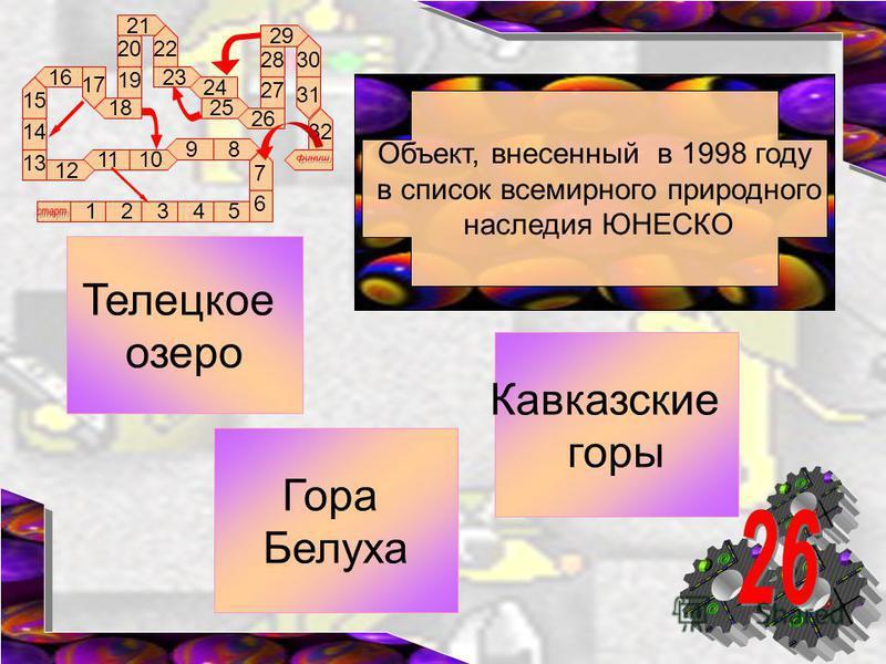 89 1011 12 16 17 18 13 12345 14 15 6 7 19 20 21 22 23 24 25 26 27 28 29 30 31 32 Объект, внесенный в 1998 году в список всемирного природного наследия ЮНЕСКО Телецкое озеро Гора Белуха Кавказские горы