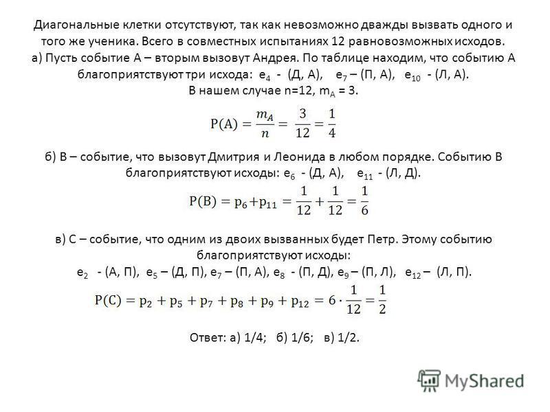 Диагональные клетки отсутствуют, так как невозможно дважды вызвать одного и того же ученика. Всего в совместных испытаниях 12 равновозможных исходов. а) Пусть событие А – вторым вызовут Андрея. По таблице находим, что событию А благоприятствуют три и