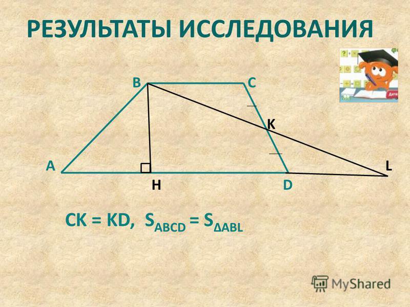 РЕЗУЛЬТАТЫ ИССЛЕДОВАНИЯ H K L D CB A CK = KD, S ABCD = S ΔABL