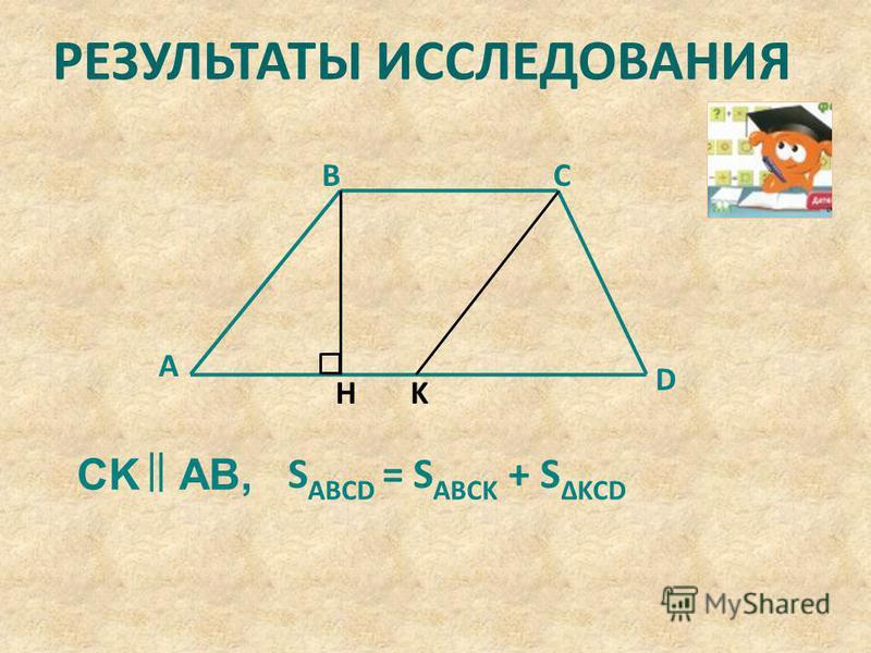 KH D CB A CKAB, S ABCD = S ABCK + S ΔKCD