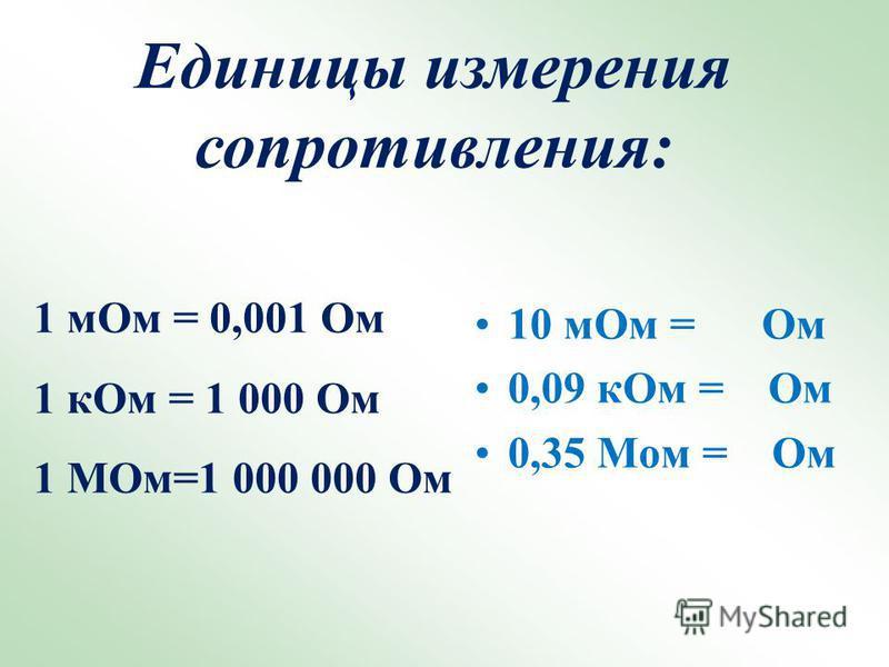 10 м Ом = Ом 0,09 к Ом = Ом 0,35 Мом = Ом Единицы измерения сопротивления: 1 м Ом = 0,001 Ом 1 к Ом = 1 000 Ом 1 МОм=1 000 000 Ом